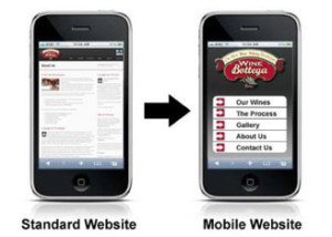 An example of a a typical website and the mobile website version - WEBv5.com